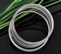 Free Shipping 1000 Loops Silver Tone Memory Beading Wire For Bracelet 50 55mm Dia J2699
