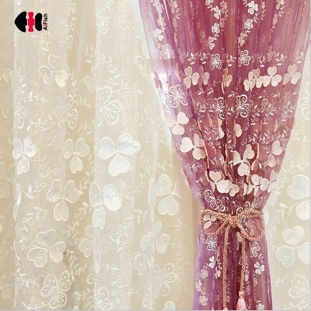 European Three-Leaf Clover Embroidery Embossment Pink White Sheer Voile Cortinas For Living Room Tulle Bedroom Wedding WP360C