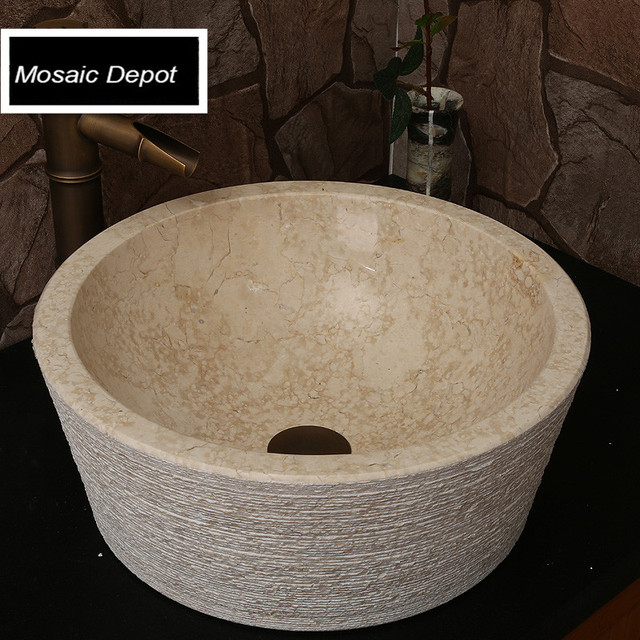 Beige Marble Sinks Bathroom Stone Basin Countertop Home Decor Natural Vessel Bowl