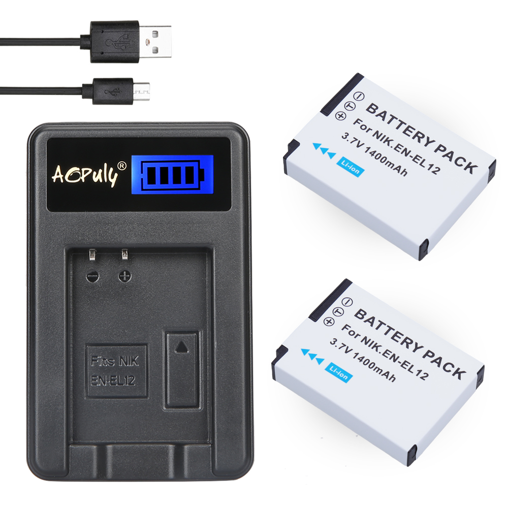 2Pc EN-EL12 battery bateria en el12 + LCD USB Charger For Nikon COOLPIX S9100 S9200 S9050 P300 P310 P330 S6200 S6300 S9400 S9500 image
