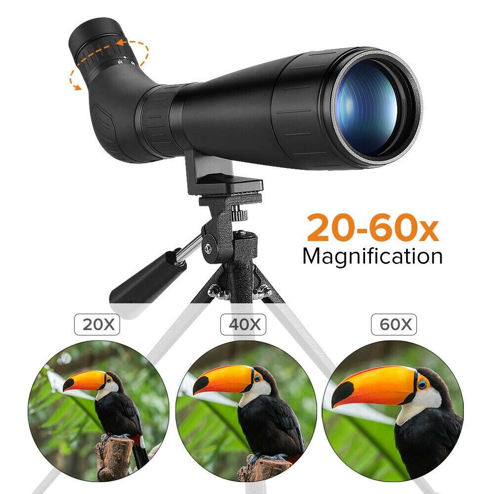 BOBLOV B60HD 20-60X60 Spotting Scope Waterproof BAK4 Prism + Phone Mount with Tripod for Target Shooting EYOYO