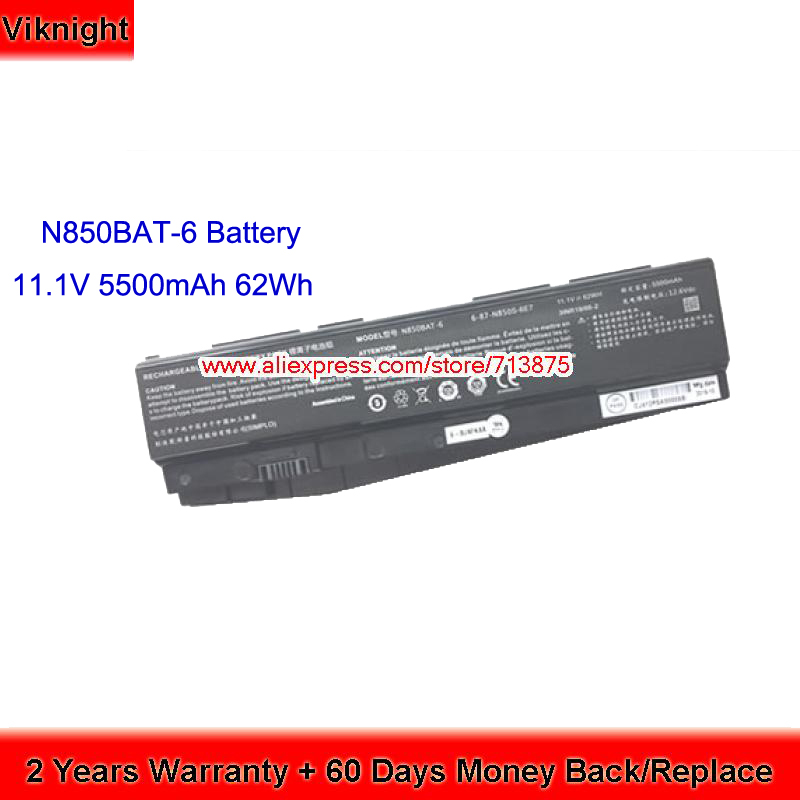 62Wh Original Clevo N850BAT-6 N850HK1 N850HJ1 6-87-N850S-6U71 6-87-N850S-6E7 Laptop Battery origianl clevo 6 87 n350s 4d7 6 87 n350s 4d8 n350bat 6 n350bat 9 laptop battery