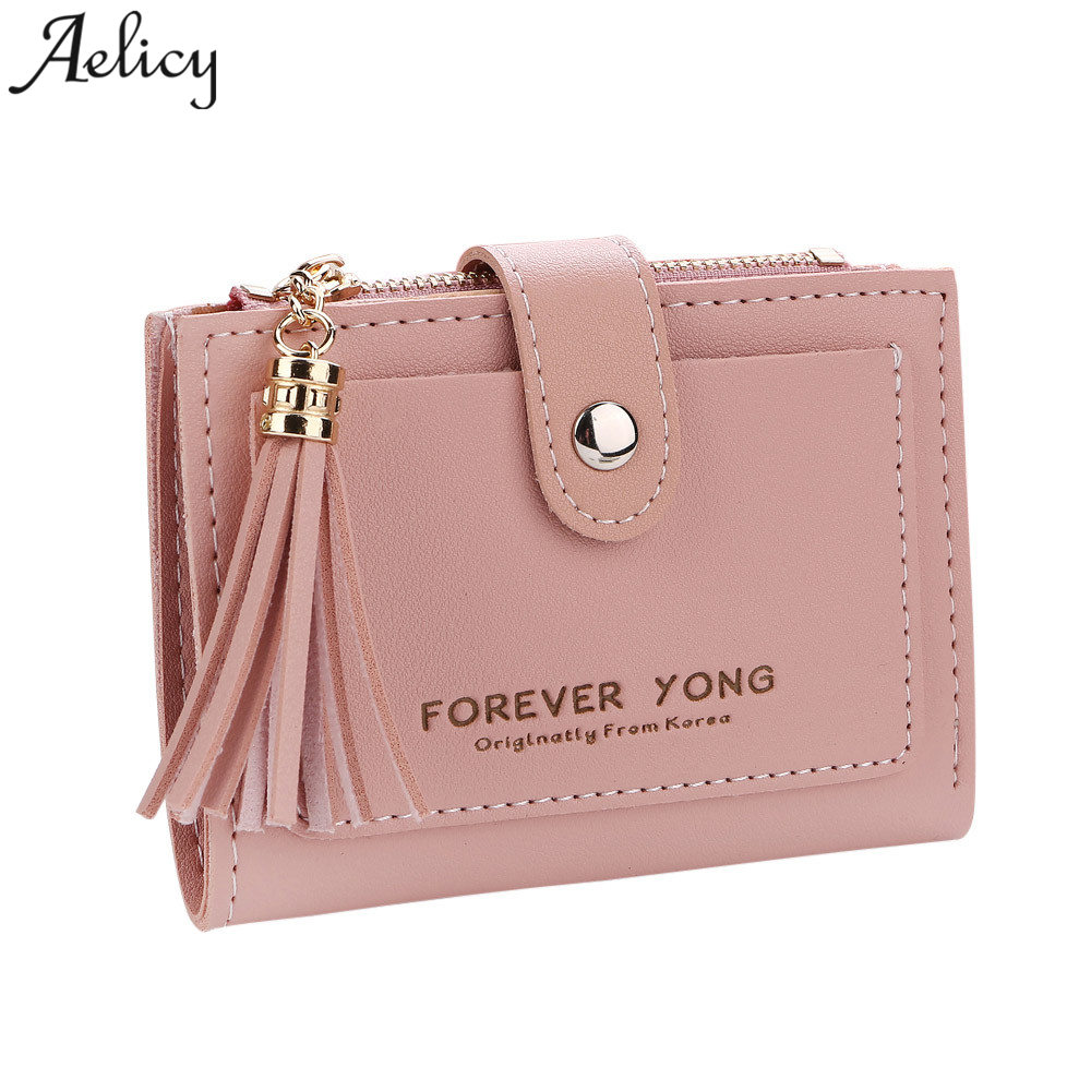 Aelicy Ladies Leather Wallets Tassels Zipper&Hasp Wallet Female Small Wallet Fashion Lady Small Purse Short Solid Female Clutch