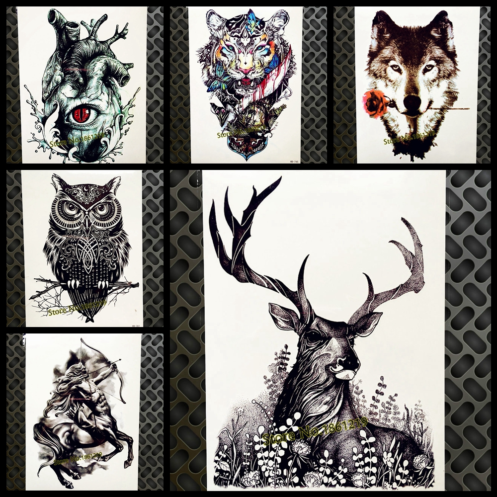 Real Black Stag Horn Temporary Tattoo Stickers For Men Buck Hart ELK MOOSE Antler Waterproof Tattoo Decals Women Tatoo Body Arm