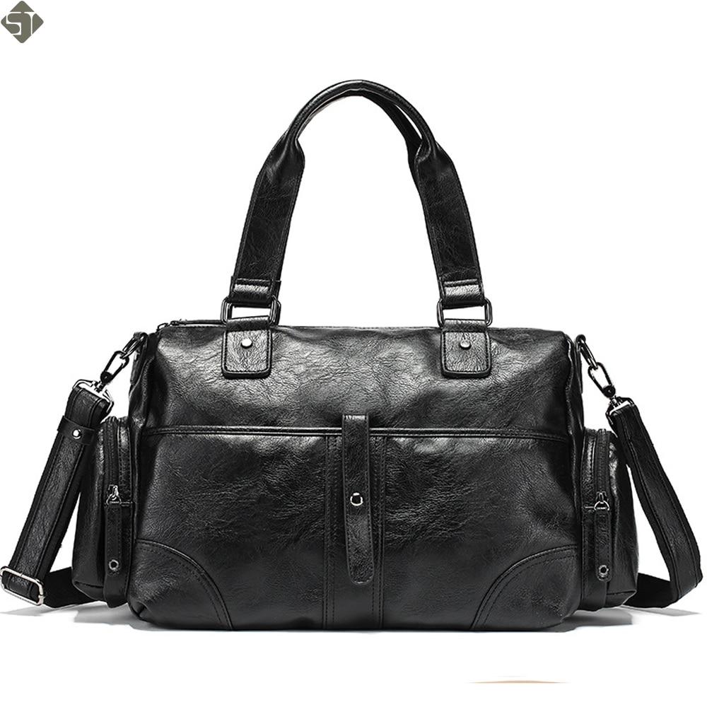 dbae6b70ee Detail Feedback Questions about Korean Style Men Travel Duffle Bags  Waterproof Leather Handbags Shoulder Bag For Women Large Capacity Weekend  Multifunction ...