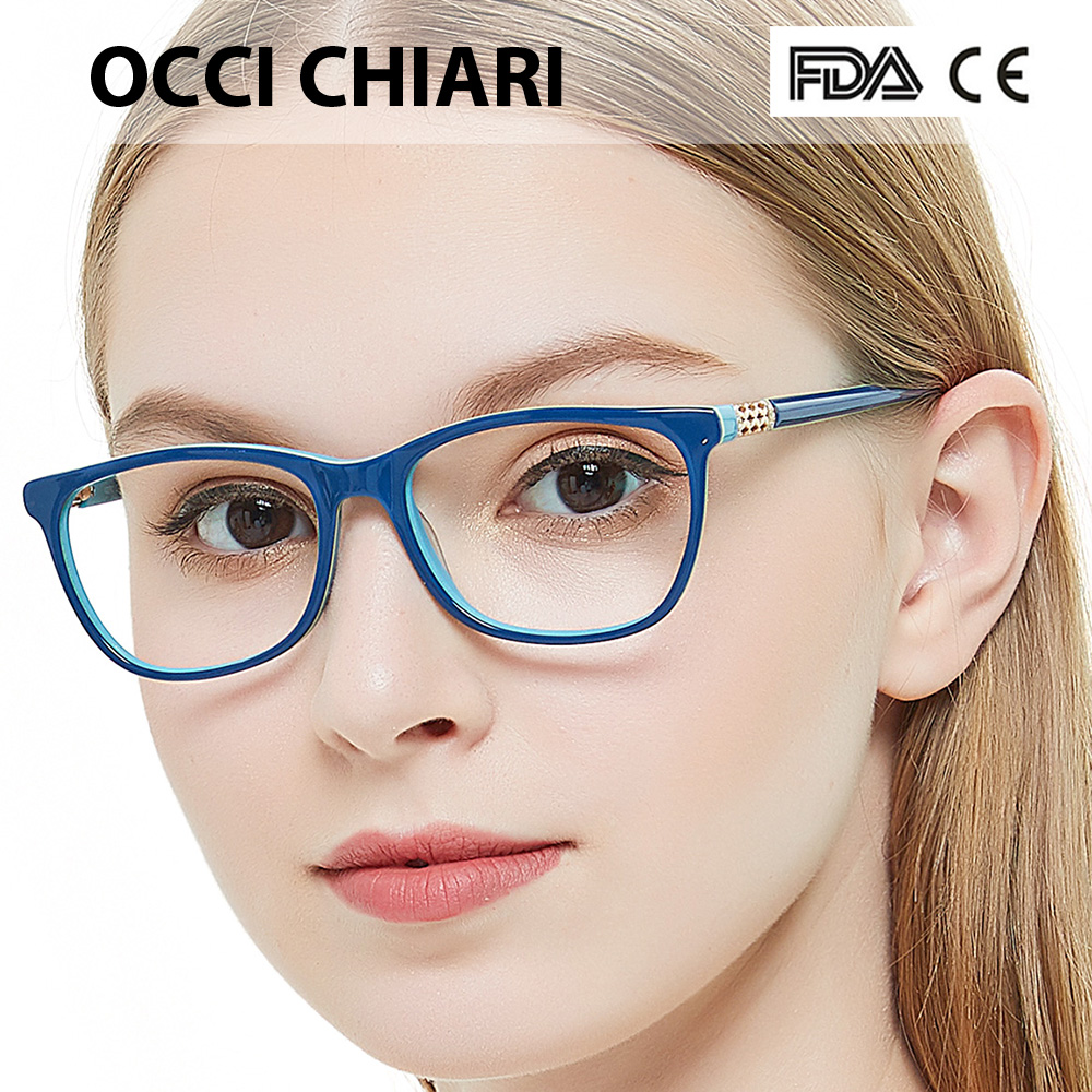 Image 2 - OCCI CHIARI Vintage Myopia Glasses Frames Women Anti Blue Ray Computer Eyewear Diamond Spring Hinge Optical Spectacles Frame-in Women's Eyewear Frames from Apparel Accessories