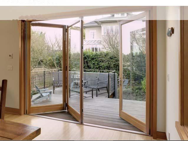 European Double Glazing Aluminium And Wood Composite Bi folding Door ...