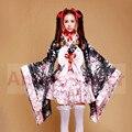 Japão Bonito Quimono Traje lolita escola saia de tule Vestido Outfit Cosplay Trajes Da Empregada Doméstica sexy Uniforme cosplay Meidofuku Cereja