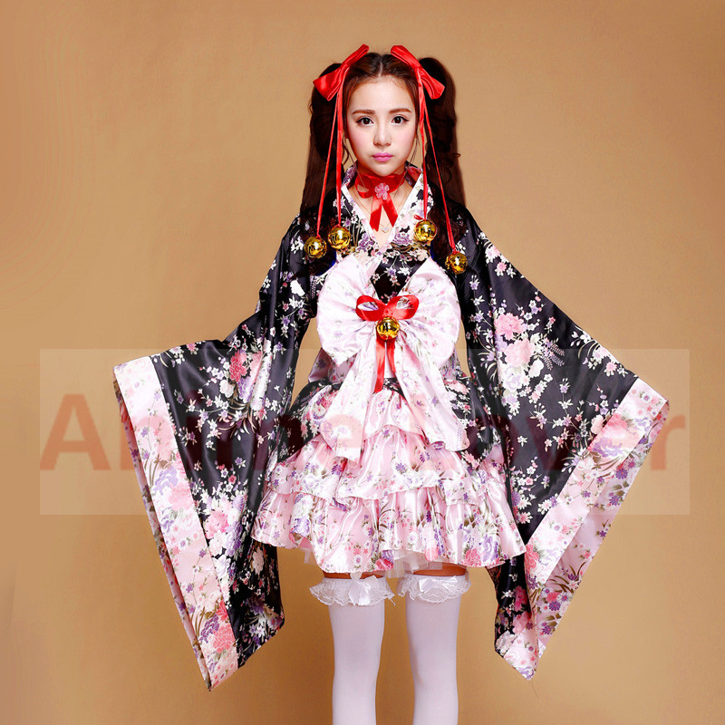 Japan Cute Kimono Costume Lolita Skirt School Tulle Sexy-4055