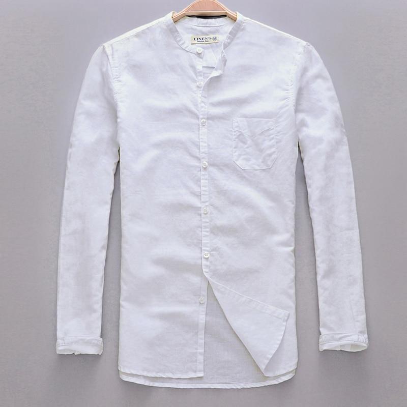 2017 새로운 도착 작은 칼라 긴 소매 셔츠 남성 린 넨 봄 여름 남성 셔츠 면화 망 셔츠 주머니 Camisa masculina