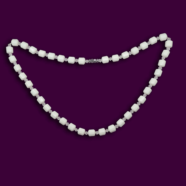 White AAA Faceted Watermelon Tourmaline Round Beads Gems Necklace 51cm