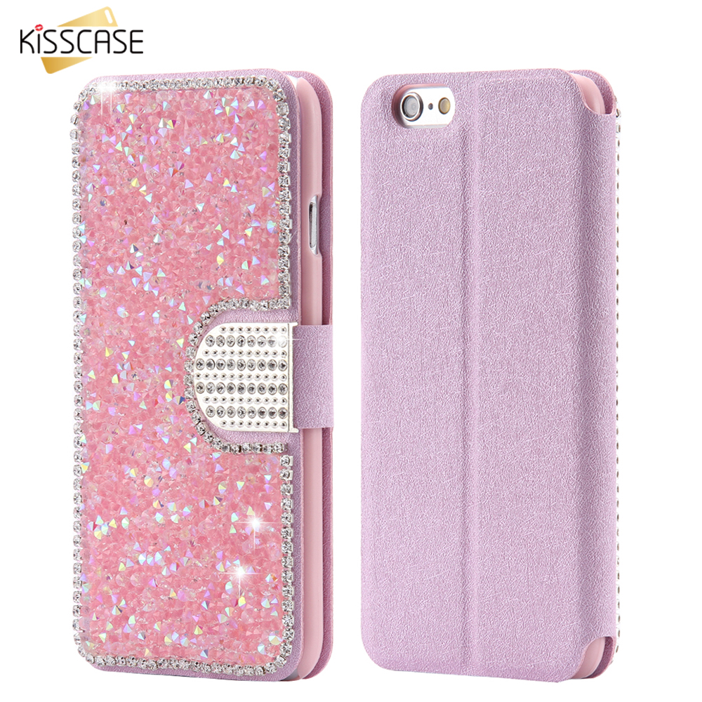 KISSCASE Luxury Bling Rhinestone Case For iPhone 7 6 6s Plus Case Flip Leather Wallet Diamond Cover Coque For iPhone 6 6s 7