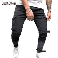 QoolXCWear Side pockets men jeans Straps  skinny streetwear black biker homme fashion jean
