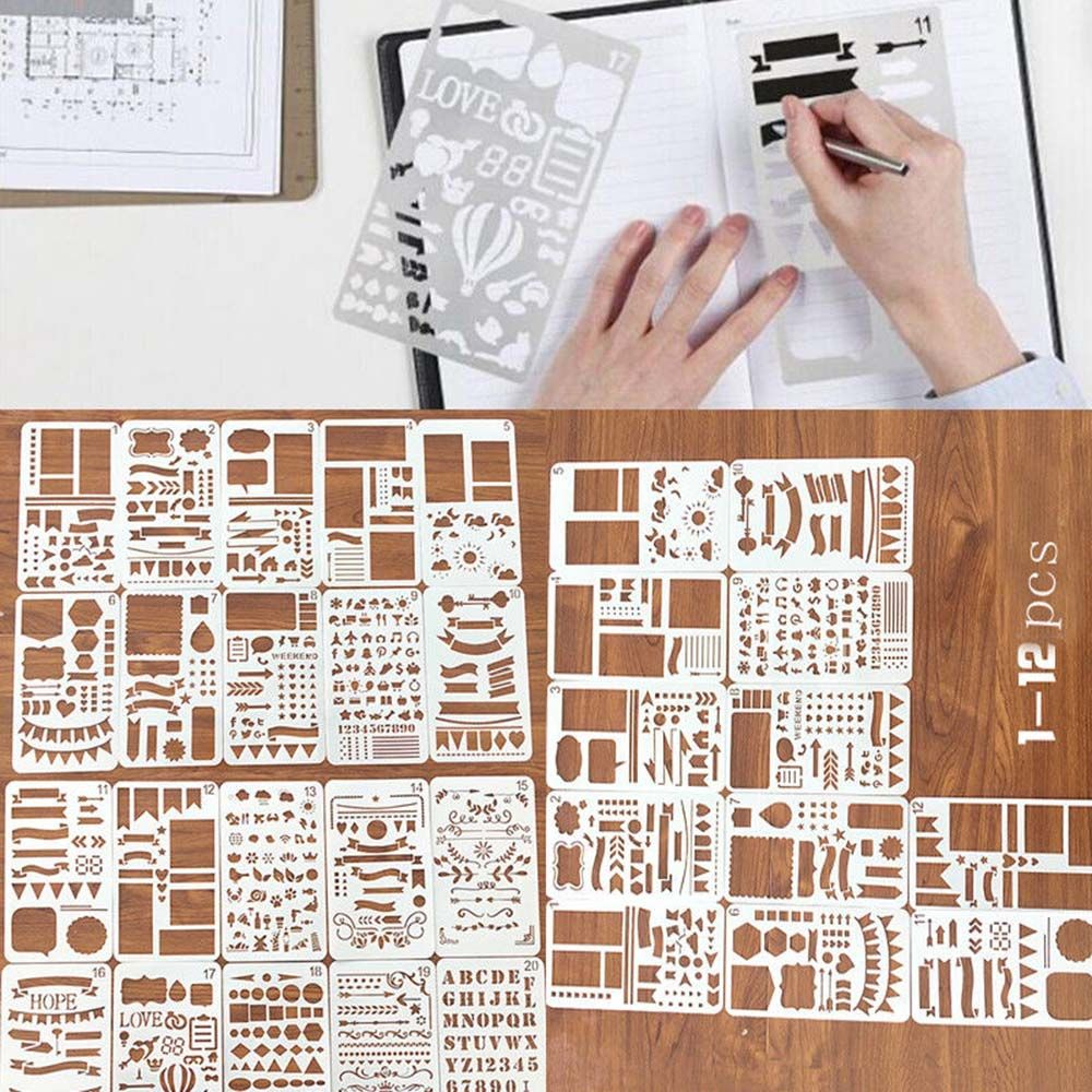 12pcs/set  Stencil Plastic Planner DIY Drawing Template Diary Craft School Office Supply