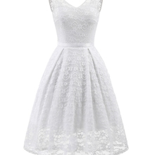 Women Elegant Vintage Sexy White Lace V-back Sleeveless Party One Piece Dress Su