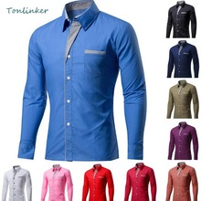 Tonlinker 2018 High quality Men Pure Color Shirt Fashion Thin Business Casual Long Sleeve Slim Fit Tops