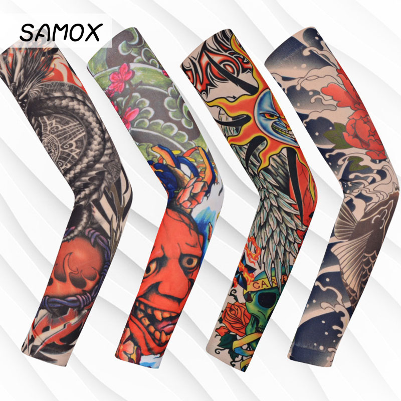 Outdoor Cycling 3D Tattoo Printed Arm Sleeves Summer Ice Sleeve UV Protection Bike Basketball Compression Arm Warmers