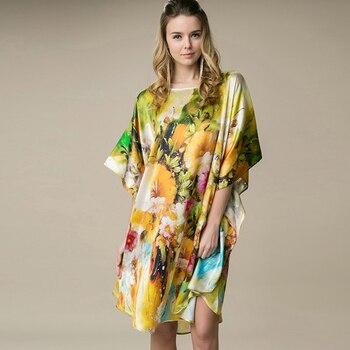 Silk Sleepshirts Nightdress 2018 Fashion Women 100% Silk Sleepwear Flower Printed Handmade Painted Female Nightgowns Home Dress