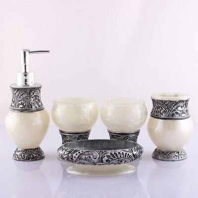 Résine salle de bains accessoires ensemble 5 pièces porte-brosse à dents Lotion distributeur savon anniversaire mariage cadeau décoration de la maison - 3