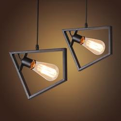Amerykańska restauracja barowa trzy klosze lampy żyrandol osobowość styl industrialny retro wiatr żelaza posiłek wiszące lampy w Wiszące lampki od Lampy i oświetlenie na