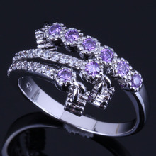 Angelic Drop Purple Cubic Zirconia White CZ 925 Sterling Silver Ring For Women V0679
