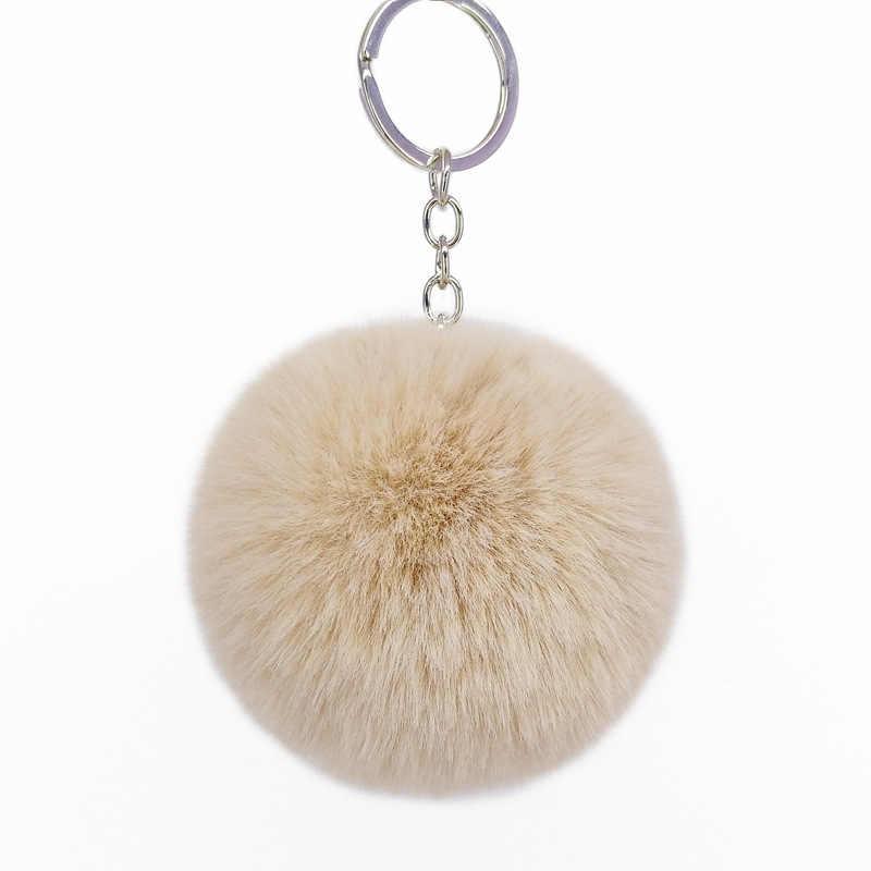 21 cor Chaveiros Trinket Chaveiro Bola De Pêlo Pompom Pele Artificial no Saco Bonito Fofo Falso Pompom Acessórios Pingente A011