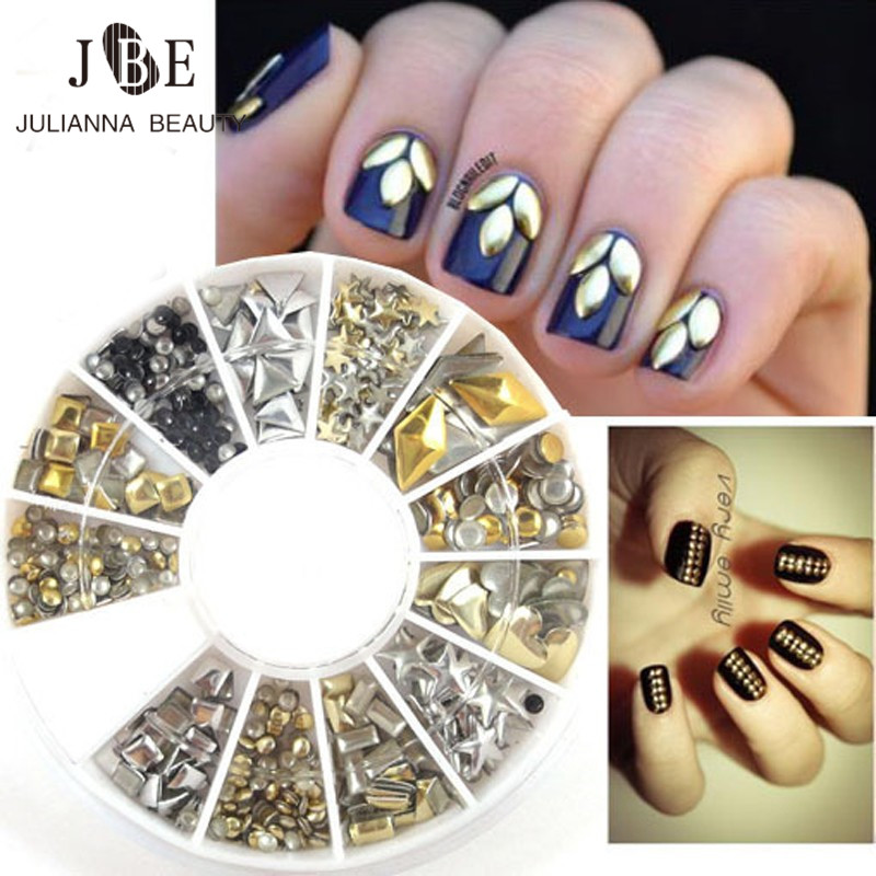 200Pcs/Box Gold Round Nail Studs Gems 3D Metal Floating Charms DIY Craft Decoration Rivet Nail Jewelry Triangle Stone Tips 1 box gold matte nail art rhinestone studs wheel 3d metal square triangle shaped nail decoration accessories