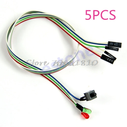 5Pcs Case Desktop ATX Power On Reset Switch Cable With HDD LED Light For PC Computer Z17 Drop Ship 10pcs lot pc computer desktop atx power on supply reset switch connector cable cord drop shipping