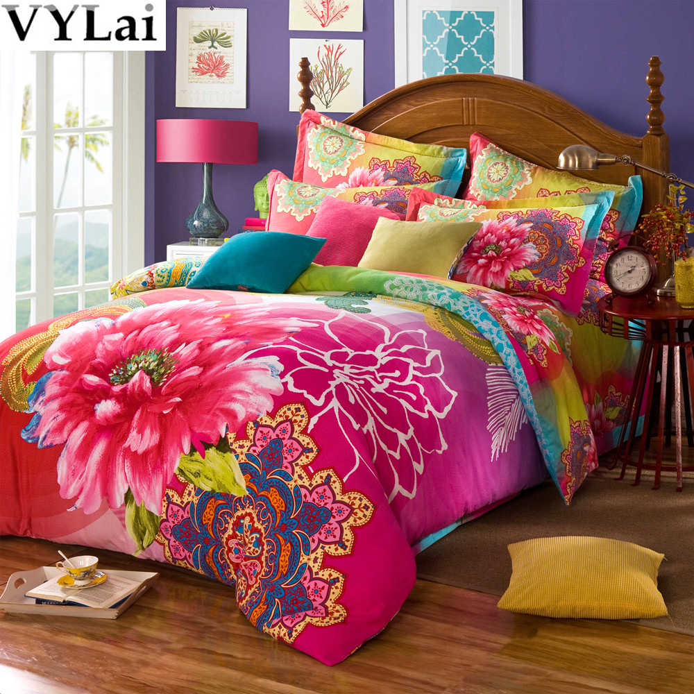 Floral cotton bed sheets - Online Shop Cotton 3d Bed Sets China Vintage Floral Bedding Set 5pcs Butterfly Comfort Duvet Cover Queen King Size Bed Sheet Bedclothes Aliexpress Mobile