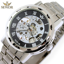 SEWOR Mens New Fashion Design Skeleton Full Steel Sport Skeleton Mechanical Automatic Watch Men Sport Watch C1288