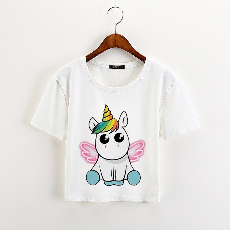 kawaii unicorn print women t shirt sweet short sleeve o. Black Bedroom Furniture Sets. Home Design Ideas
