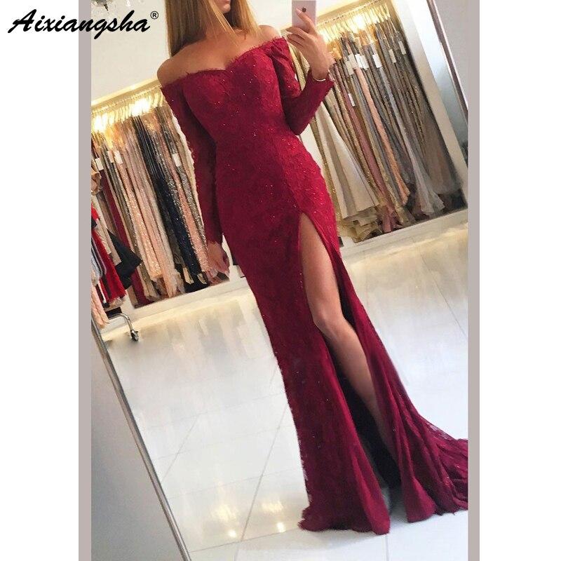 New Design 2019 Long Sleeve   Prom   Long Elegant   Dresses   Mermaid Off the Shoulder Split Front Burgundy Lace   Prom     Dress   with Beading