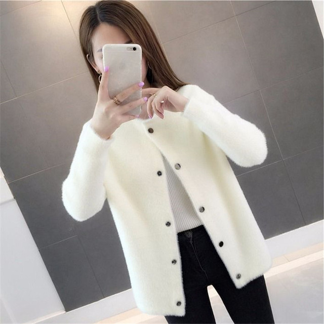 Mink fur autumn and winter sweater coat 2019 new women's loose velvet long-sleeved cardigan