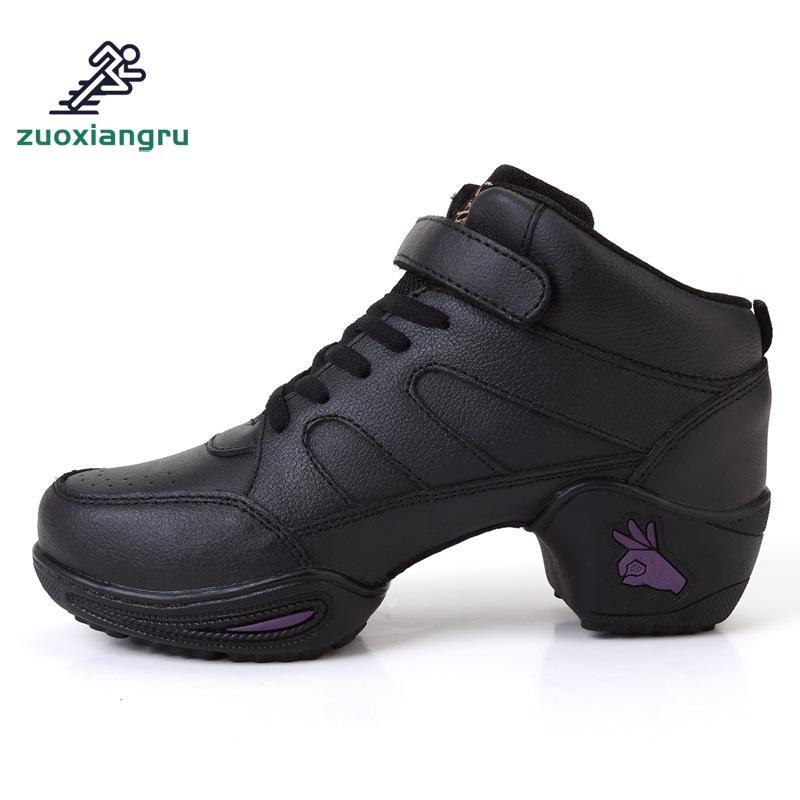 Couche de cuir chaussures à fond souple dames chaussures de Jazz quatre carré Fitness chaussures de danse moderne salle de bal danse tennis à semelles compensées