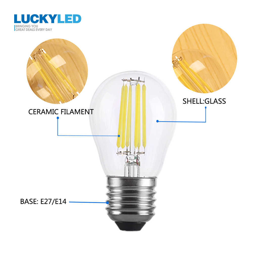 LUCKYLED Led Bulb E14 220V 110V E27 Led Lamp Bulbs 2W 4W 6W Retro Edison Filament Light G45 Glass Ball Bombillas For Home Light