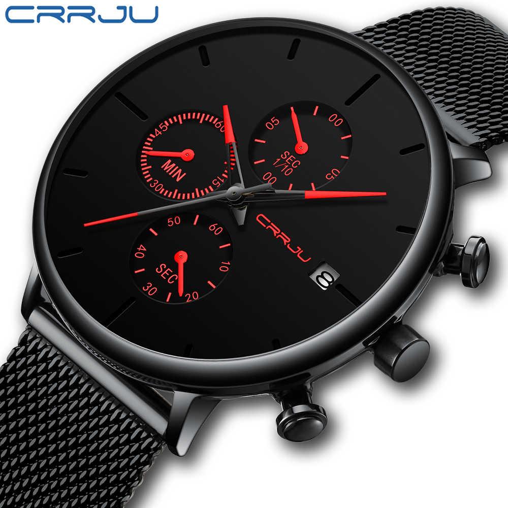 CRRJU hommes montre Reloj Hombre 2019 hommes montres haut marque de luxe montre à Quartz grand cadran Sport étanche Relogio Masculino Saat