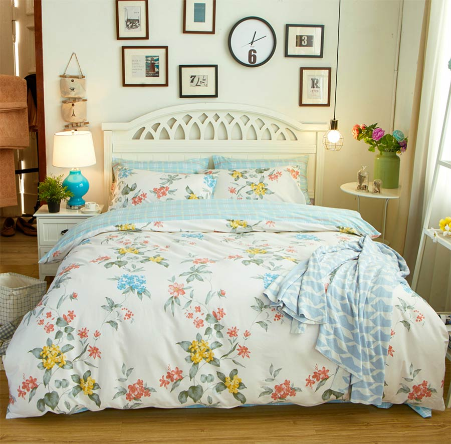 Colorful flower bedding - Colorful Flower Bedding Sets Cotton Teen Adult Full Queen King European Country Home Textiles Bed