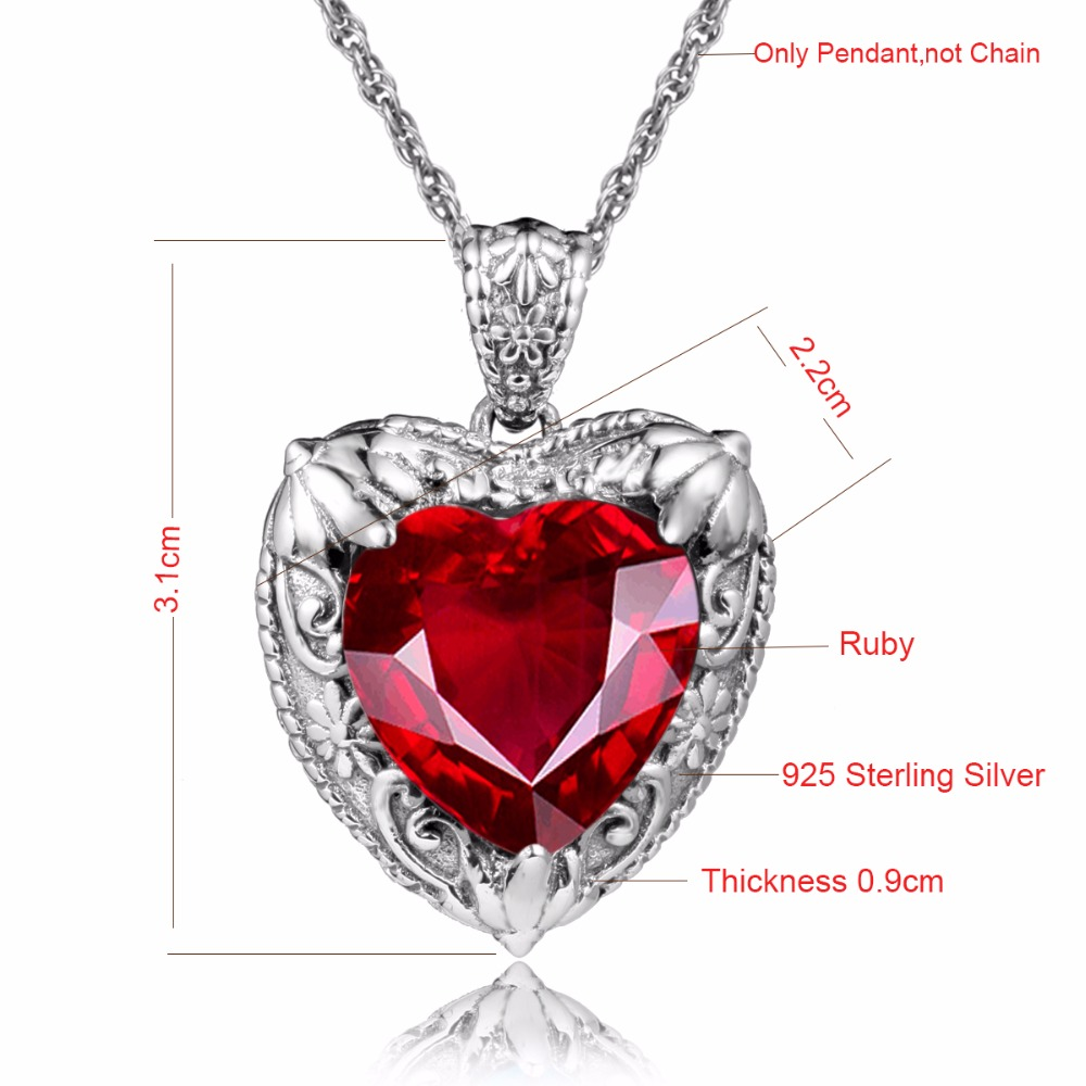 029d3b94caeb4 Szjinao Charms Handmade Heart Pendant Ruby 100% 925 Sterling Silver Jewelry  Women Pendants for Friends Steven Universe