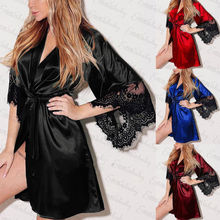 6 Colors AvailableSexy Bride Long Women Lace Floral Kimono Robe Satin Silk Night Dressing Gown