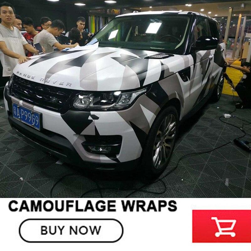 Voiture style noir et blanc Camo vinyle Wrap voiture moto décalque miroir téléphone portable bricolage style Camouflage autocollant feuille de Film
