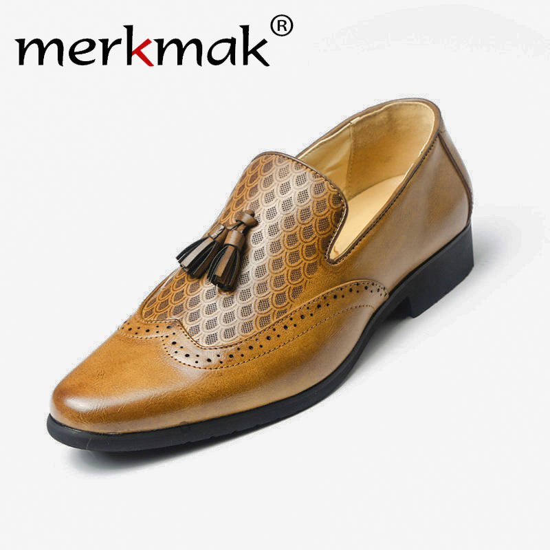 US $19.99 49% OFF|Merkmak Men Dress Shoes Classic Tassel Brogue Oxford Shoes British Style Leather Loafers Soft Flats Wedding Formal in Formal Shoes