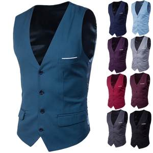 2019 New Arrival Dress Vests for Men Slim Fit Mens Suit Vest Male Waistcoat Homme Smart Casual Sleeveless Formal Business Jacket