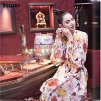 Appliques Floral Vintage Puff Sleeve Elegant Casual Womens Rose Flower Print Large Swing Maxi Long Dress