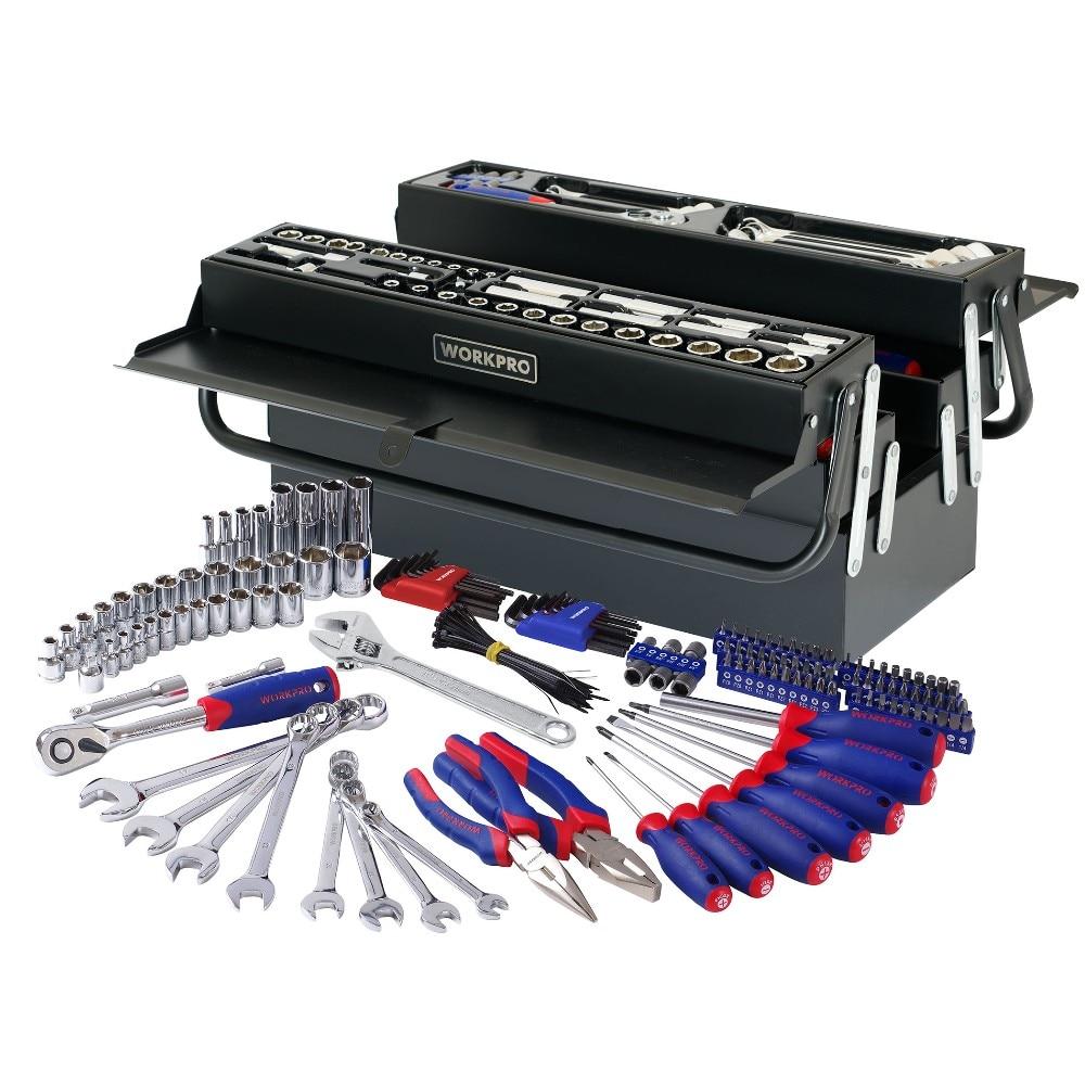 WORKPRO 183PC Repair Tool Set Homeowner's Tool Kit With 5