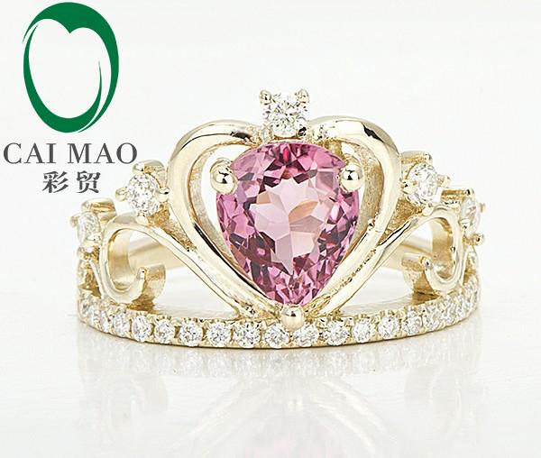 Caimao Clásico Único Diamante Turmalina Rosa 14ct Oro Amarillo de Compromiso Anillo de La Corona