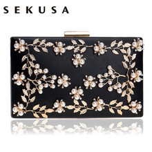 купить SEKUSA Women Fashion Clutch Bag Beaded Leaf Metal Gold Lady Evening Bag Chain Shoulder Handbags Party Wedding Bridal Bags по цене 1078.57 рублей