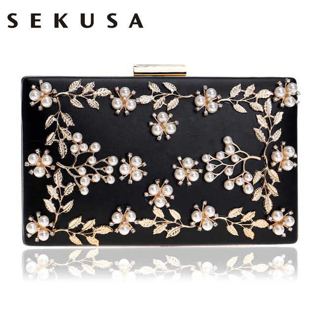 SEKUSA Women Fashion Clutch Bag Beaded Leaf Metal Gold Lady Evening Bag Chain Shoulder Handbags Party Wedding Bridal Bags