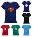 Капитан бэтмен утюг flash Мстители паук комиксов леди Футболка женщины девушка талии тонкий хип-хоп hero T-Shirt футболка косплей Ти подарок