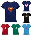 captain batman iron flash Avengers spider comic lady T Shirt women girl waist slim hiphop hero T-Shirt tshirt cosplay Tee  gift