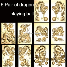 5 Pair of dragon playing ball 3d model STL relief for cnc BMP format  Relief Model STL Router Engraver ArtCam 3D printing model